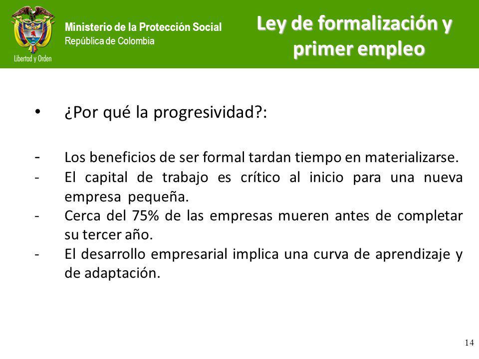 Ministerio de la Protección Social República de Colombia Ley de formalización y primer empleo ¿Por qué la progresividad?: - Los beneficios de ser form
