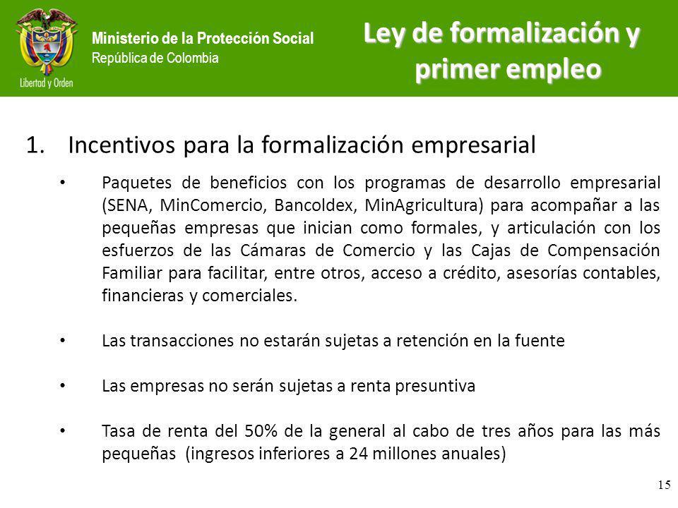 Ministerio de la Protección Social República de Colombia 1.Incentivos para la formalización empresarial Paquetes de beneficios con los programas de de