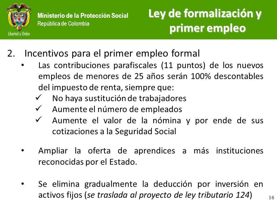 Ministerio de la Protección Social República de Colombia 2.Incentivos para el primer empleo formal Las contribuciones parafiscales (11 puntos) de los