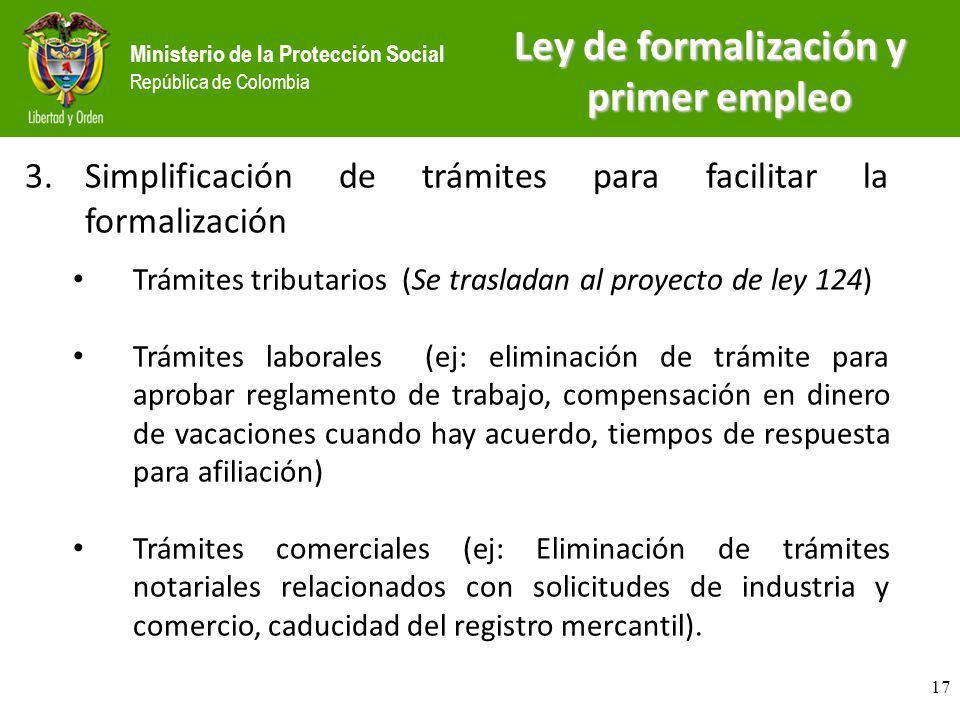 Ministerio de la Protección Social República de Colombia 3.Simplificación de trámites para facilitar la formalización Trámites tributarios (Se traslad