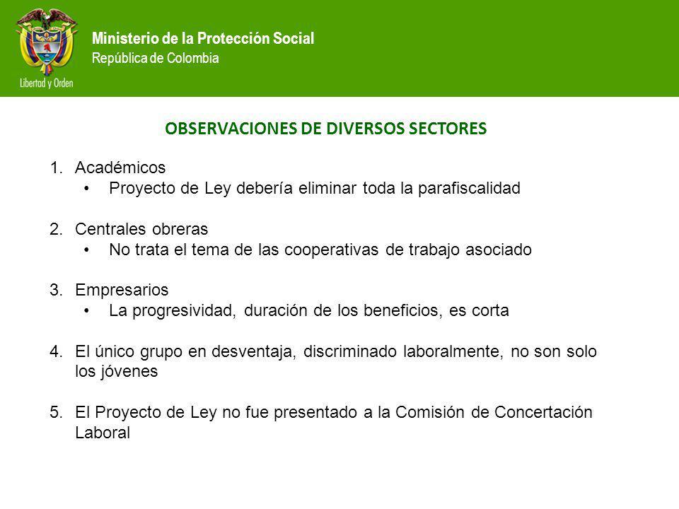 Ministerio de la Protección Social República de Colombia OBSERVACIONES DE DIVERSOS SECTORES 1.Académicos Proyecto de Ley debería eliminar toda la para