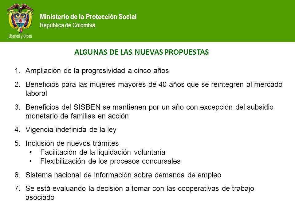 Ministerio de la Protección Social República de Colombia ALGUNAS DE LAS NUEVAS PROPUESTAS 1.Ampliación de la progresividad a cinco años 2.Beneficios p