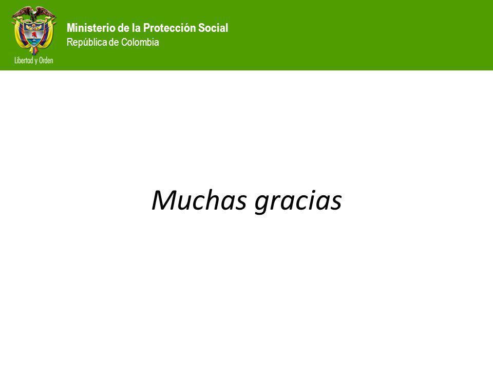 Ministerio de la Protección Social República de Colombia Muchas gracias