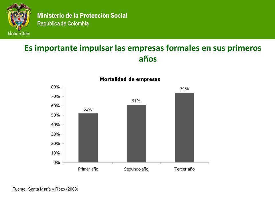 Ministerio de la Protección Social República de Colombia Fuente: Santa María y Rozo (2008) Es importante impulsar las empresas formales en sus primero