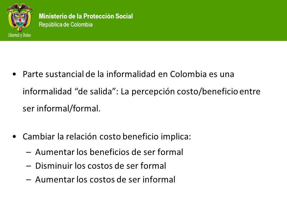 Ministerio de la Protección Social República de Colombia Parte sustancial de la informalidad en Colombia es una informalidad de salida: La percepción