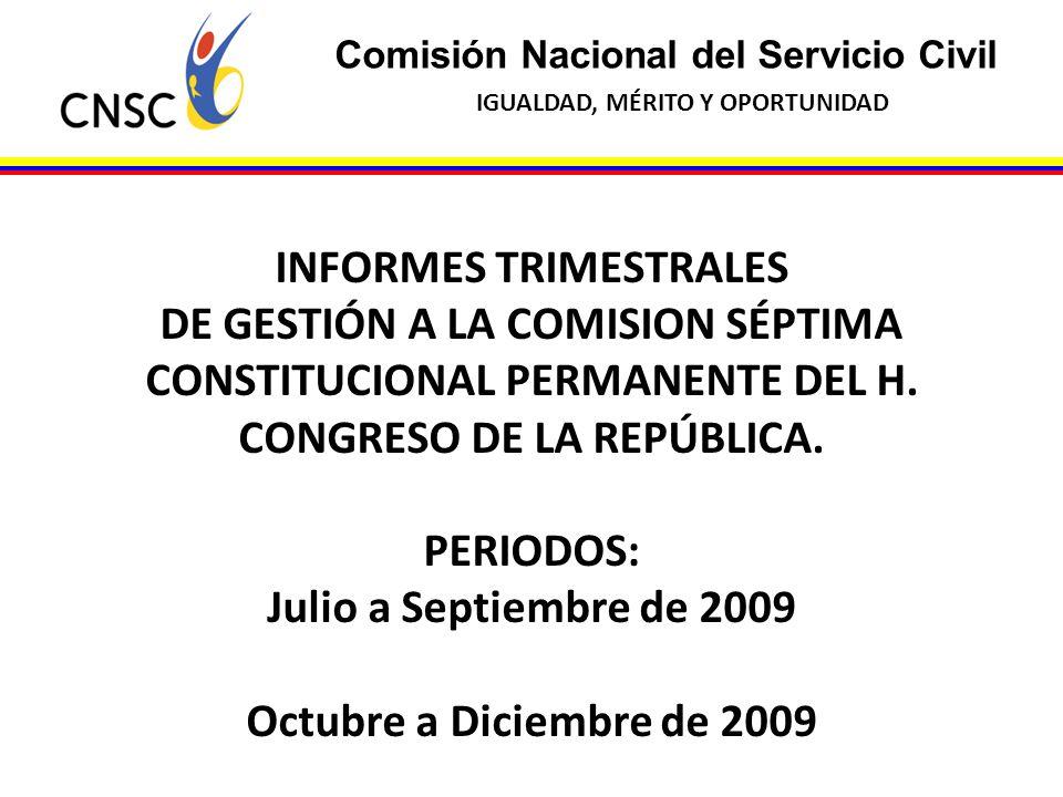 Comisión Nacional del Servicio Civil IGUALDAD, MÉRITO Y OPORTUNIDAD INFORMES TRIMESTRALES DE GESTIÓN A LA COMISION SÉPTIMA CONSTITUCIONAL PERMANENTE D