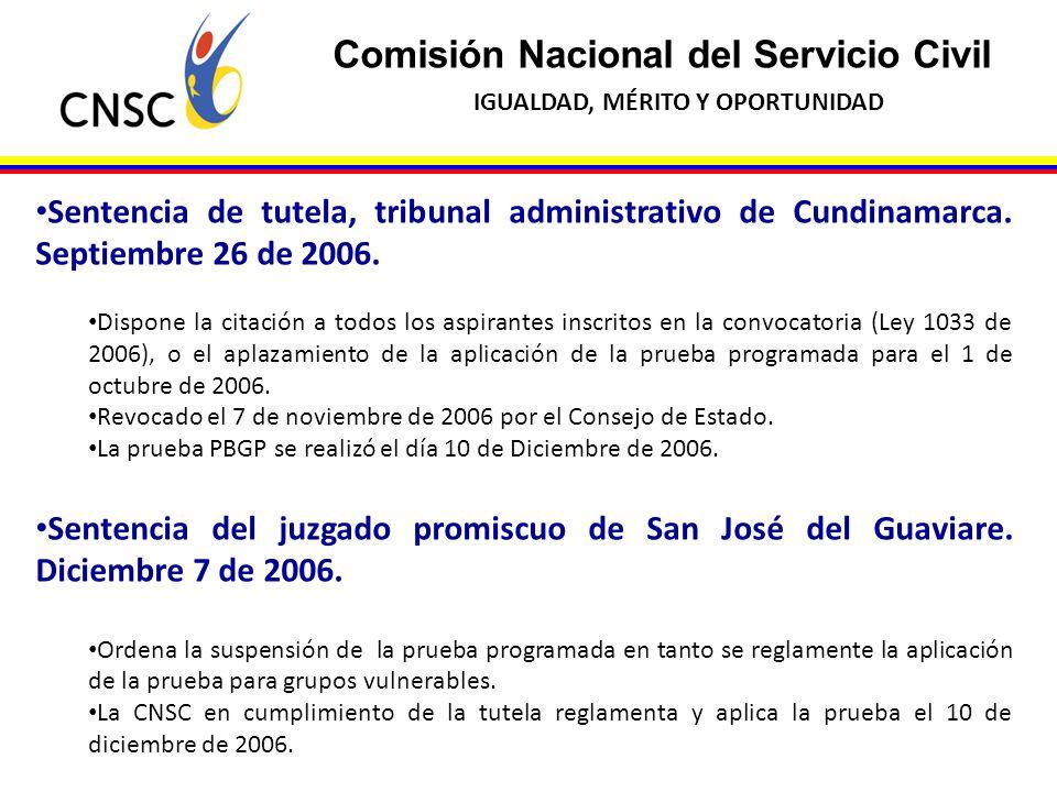 Comisión Nacional del Servicio Civil IGUALDAD, MÉRITO Y OPORTUNIDAD Sentencia de tutela, tribunal administrativo de Cundinamarca. Septiembre 26 de 200