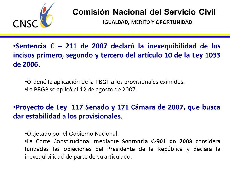 Comisión Nacional del Servicio Civil IGUALDAD, MÉRITO Y OPORTUNIDAD Sentencia C – 211 de 2007 declaró la inexequibilidad de los incisos primero, segun