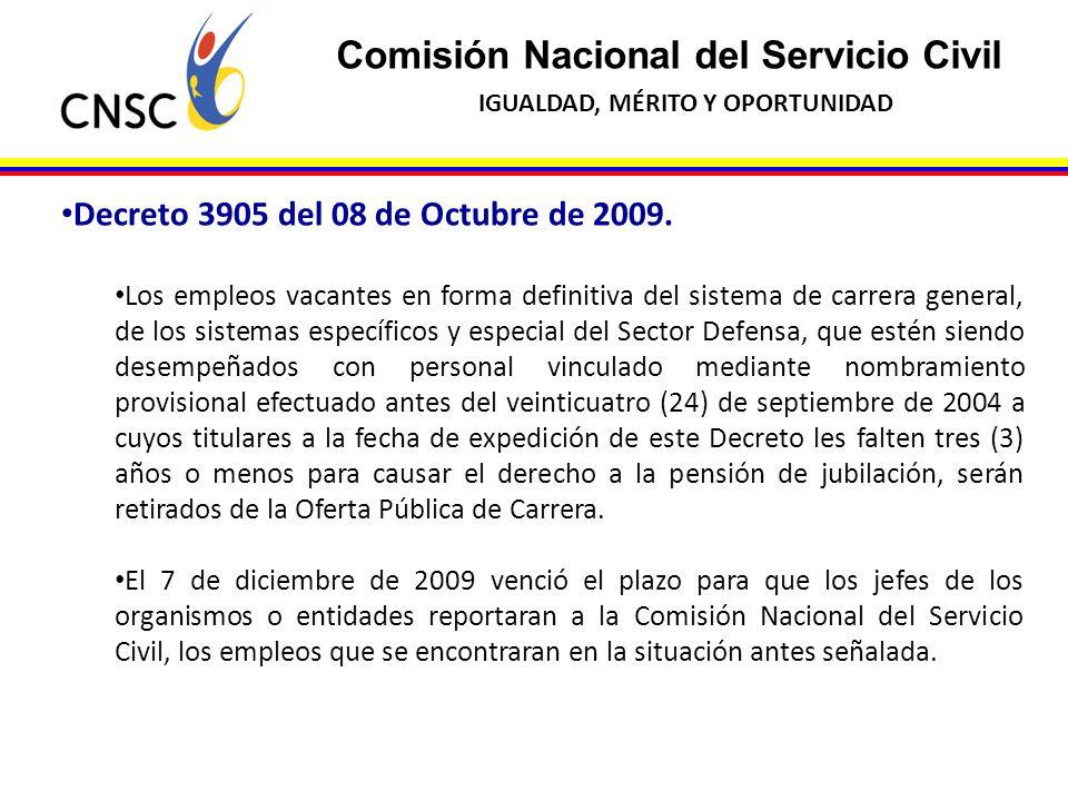 Comisión Nacional del Servicio Civil IGUALDAD, MÉRITO Y OPORTUNIDAD Decreto 3905 del 08 de Octubre de 2009. Los empleos vacantes en forma definitiva d