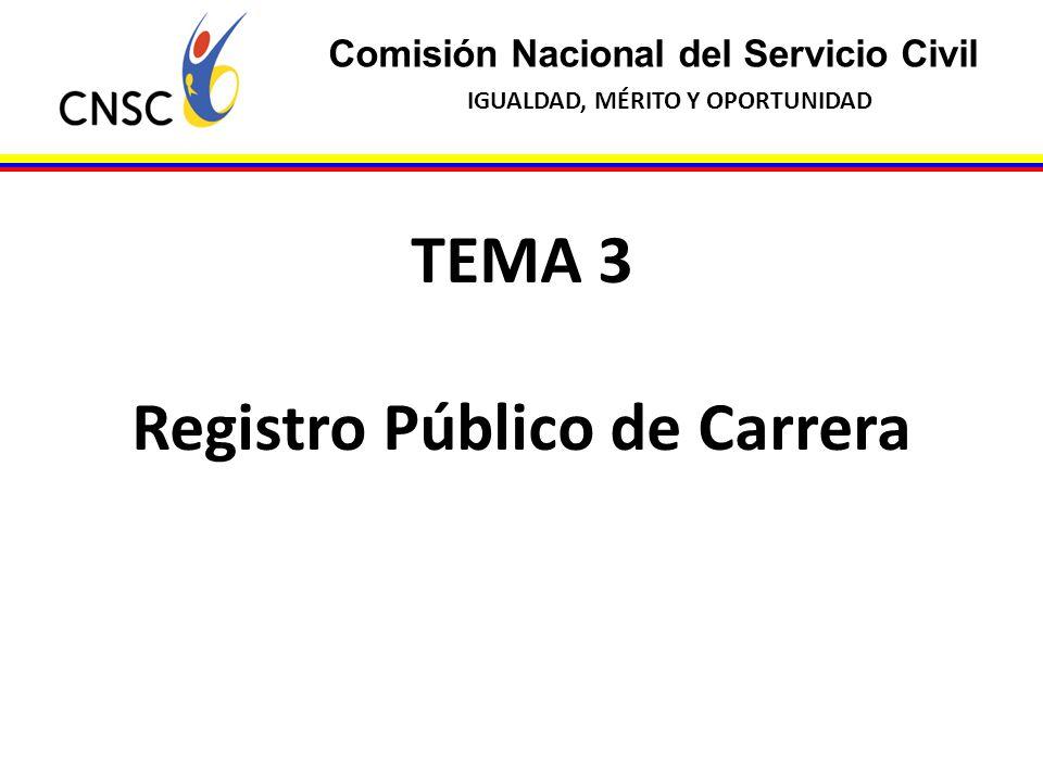 Comisión Nacional del Servicio Civil IGUALDAD, MÉRITO Y OPORTUNIDAD TEMA 3 Registro Público de Carrera