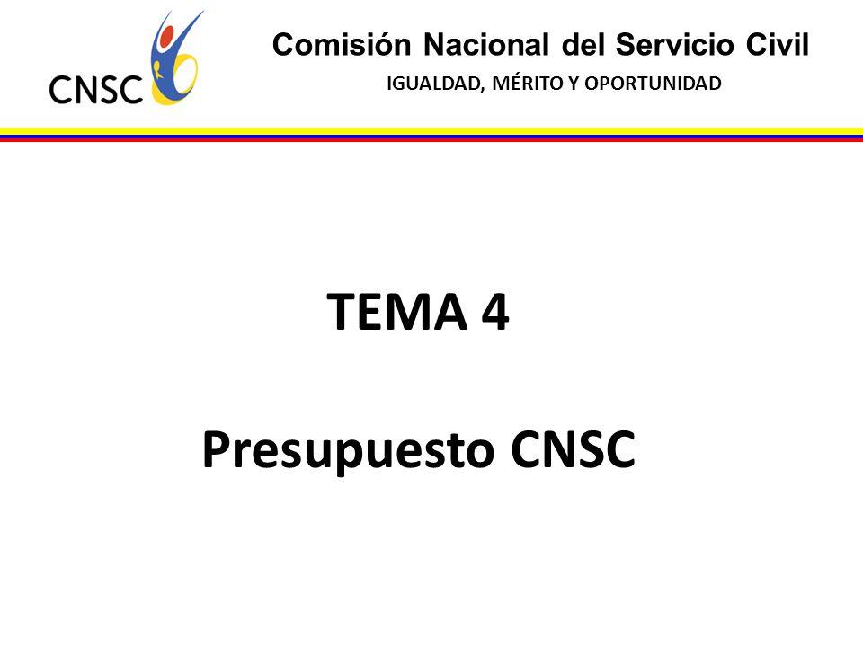 Comisión Nacional del Servicio Civil IGUALDAD, MÉRITO Y OPORTUNIDAD TEMA 4 Presupuesto CNSC
