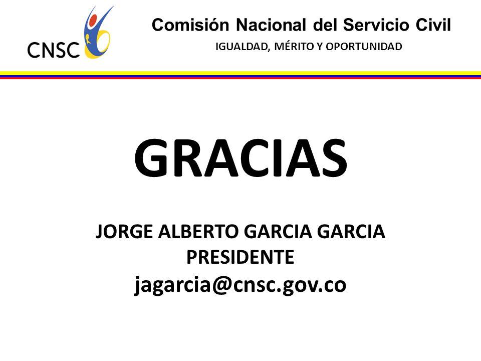Comisión Nacional del Servicio Civil IGUALDAD, MÉRITO Y OPORTUNIDAD GRACIAS JORGE ALBERTO GARCIA GARCIA PRESIDENTE jagarcia@cnsc.gov.co