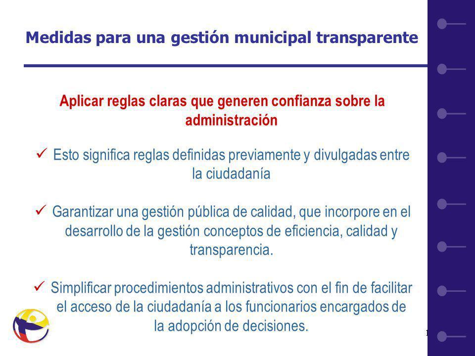 12 Aplicar reglas claras que generen confianza sobre la administración Esto significa reglas definidas previamente y divulgadas entre la ciudadanía Garantizar una gestión pública de calidad, que incorpore en el desarrollo de la gestión conceptos de eficiencia, calidad y transparencia.