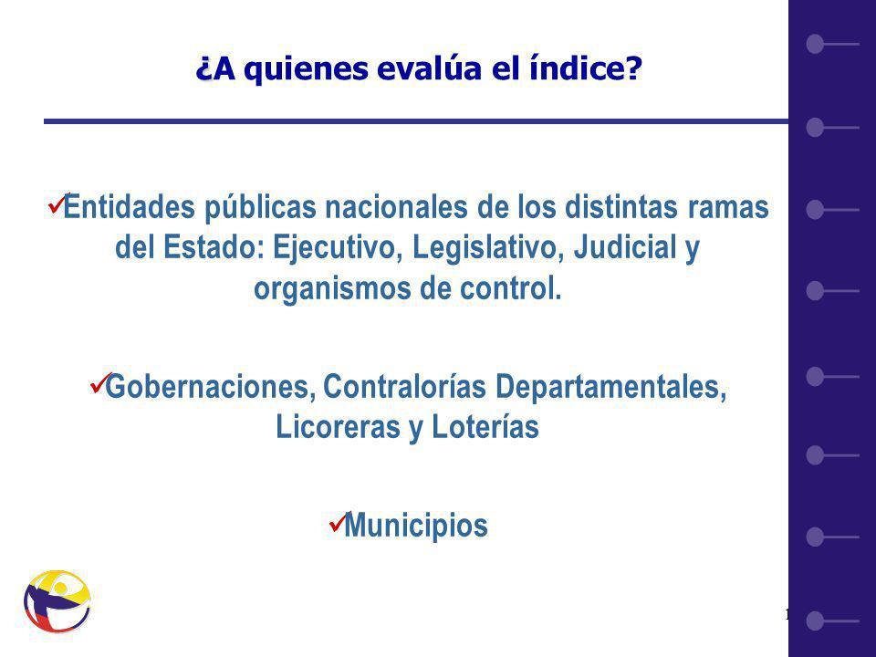 19 Entidades públicas nacionales de los distintas ramas del Estado: Ejecutivo, Legislativo, Judicial y organismos de control.
