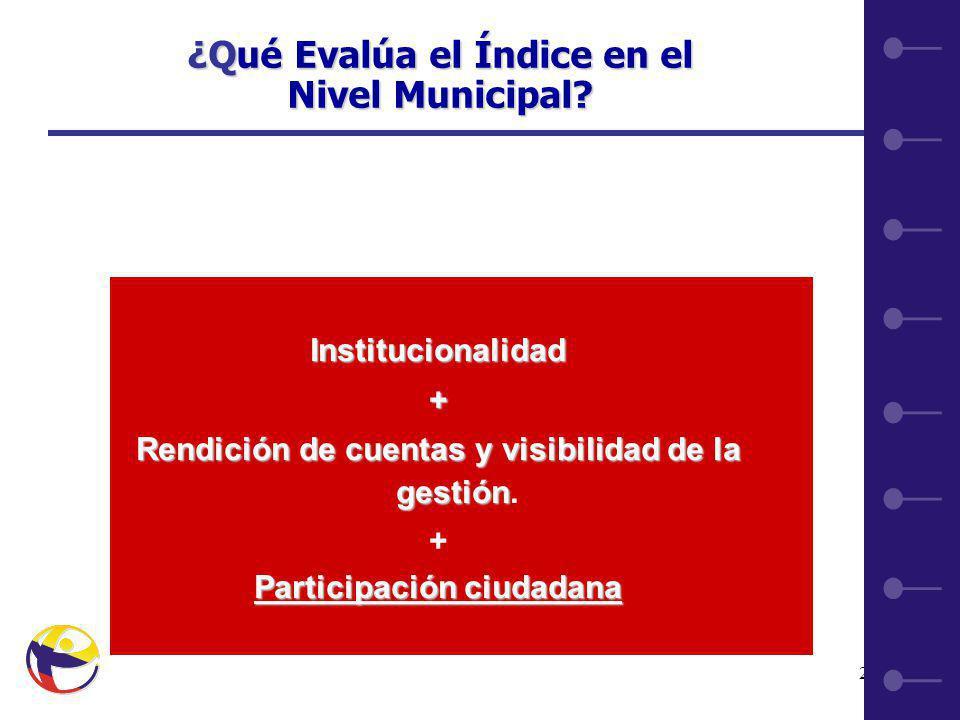 21 Institucionalidad+ Rendición de cuentas y visibilidad de la gestión Rendición de cuentas y visibilidad de la gestión.
