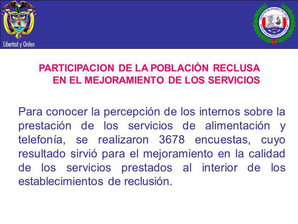 Para conocer la percepción de los internos sobre la prestación de los servicios de alimentación y telefonía, se realizaron 3678 encuestas, cuyo result