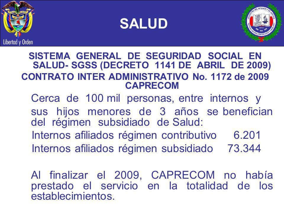 SALUD SISTEMA GENERAL DE SEGURIDAD SOCIAL EN SALUD- SGSS (DECRETO 1141 DE ABRIL DE 2009) CONTRATO INTER ADMINISTRATIVO No. 1172 de 2009 CAPRECOM Cerca