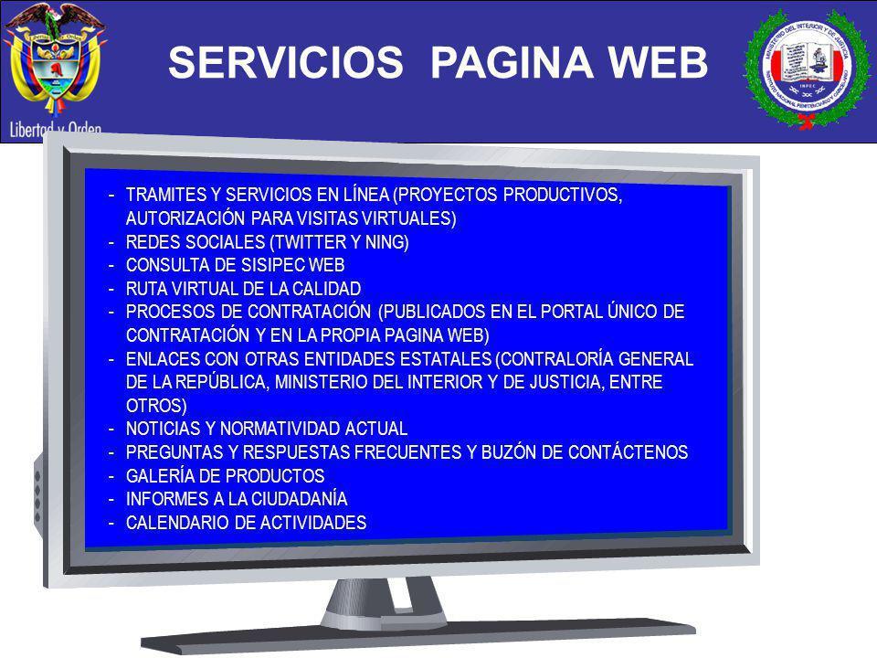 - TRAMITES Y SERVICIOS EN LÍNEA (PROYECTOS PRODUCTIVOS, AUTORIZACIÓN PARA VISITAS VIRTUALES) - REDES SOCIALES (TWITTER Y NING) -CONSULTA DE SISIPEC WE