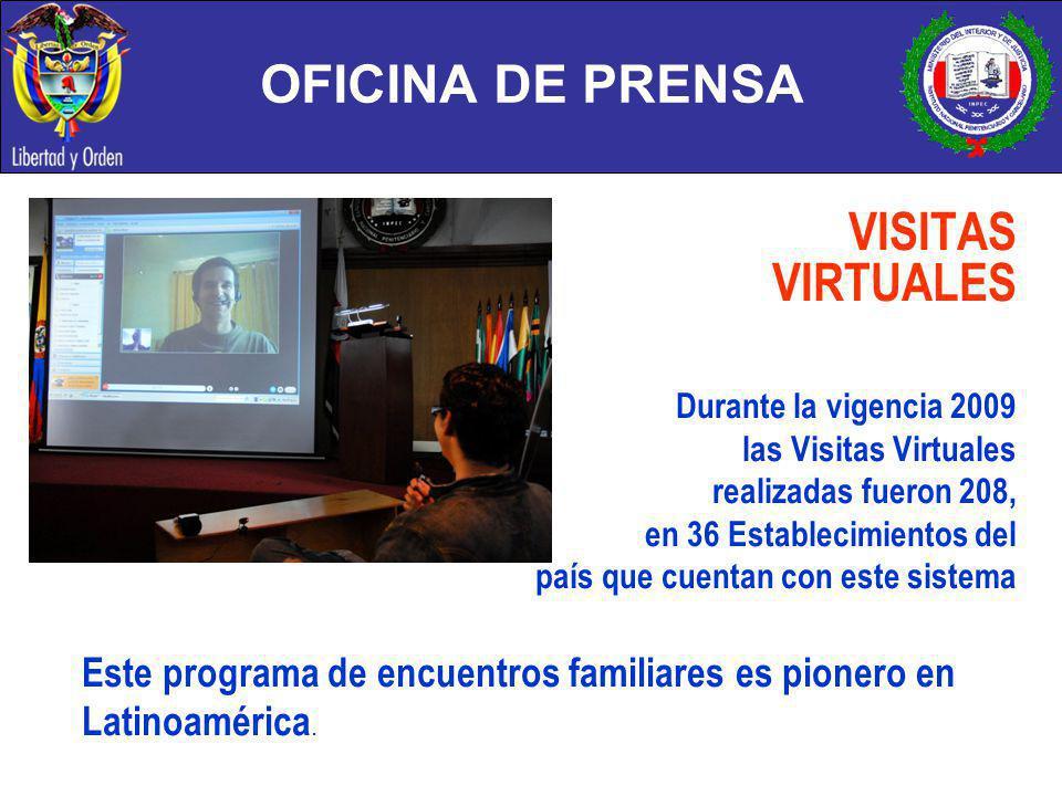 OFICINA DE PRENSA VISITAS VIRTUALES Durante la vigencia 2009 las Visitas Virtuales realizadas fueron 208, en 36 Establecimientos del país que cuentan