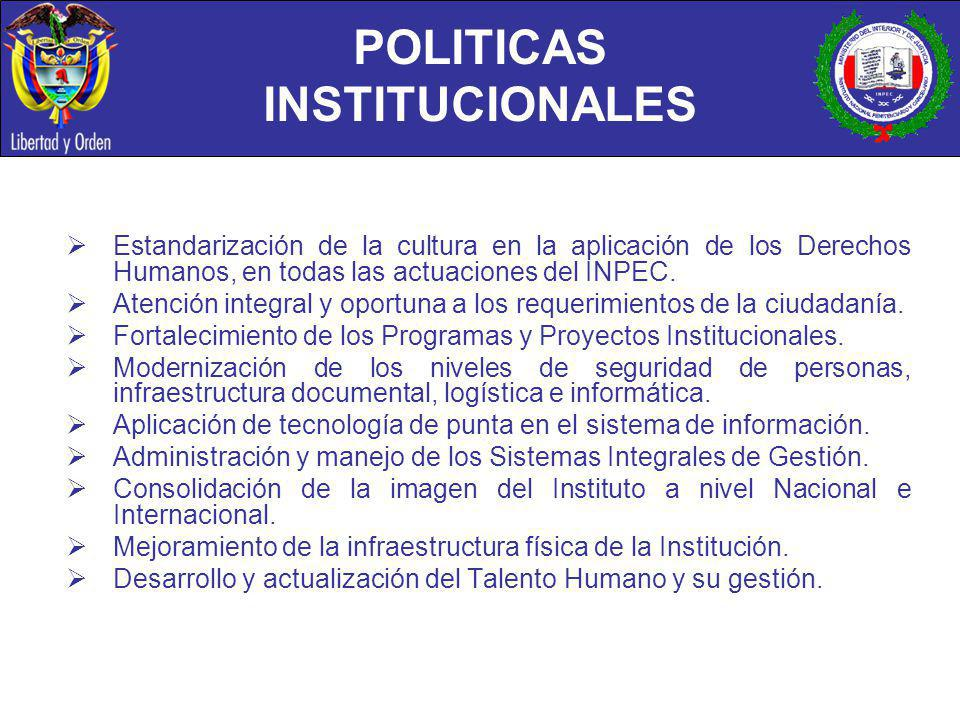 POLITICAS INSTITUCIONALES Estandarización de la cultura en la aplicación de los Derechos Humanos, en todas las actuaciones del INPEC. Atención integra