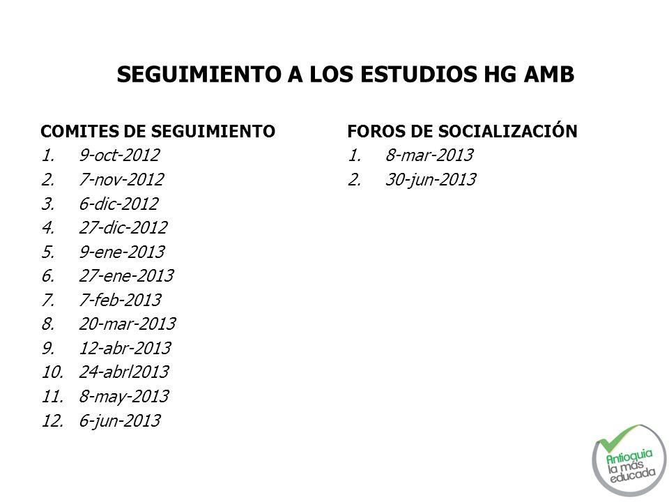 FOROS DE SOCIALIZACIÓN 1.8-mar-2013 2.30-jun-2013 SEGUIMIENTO A LOS ESTUDIOS HG AMB COMITES DE SEGUIMIENTO 1.9-oct-2012 2.7-nov-2012 3.6-dic-2012 4.27