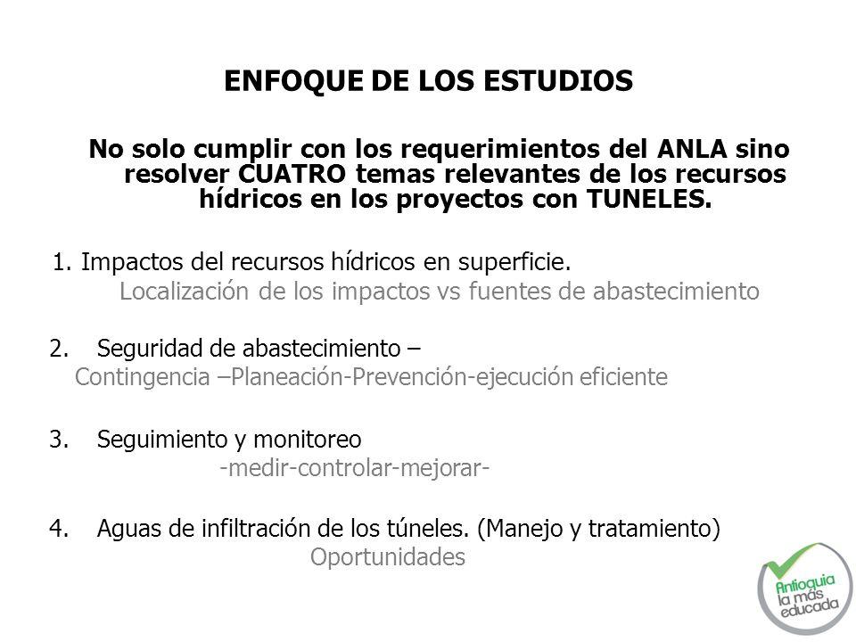 ENFOQUE DE LOS ESTUDIOS No solo cumplir con los requerimientos del ANLA sino resolver CUATRO temas relevantes de los recursos hídricos en los proyecto