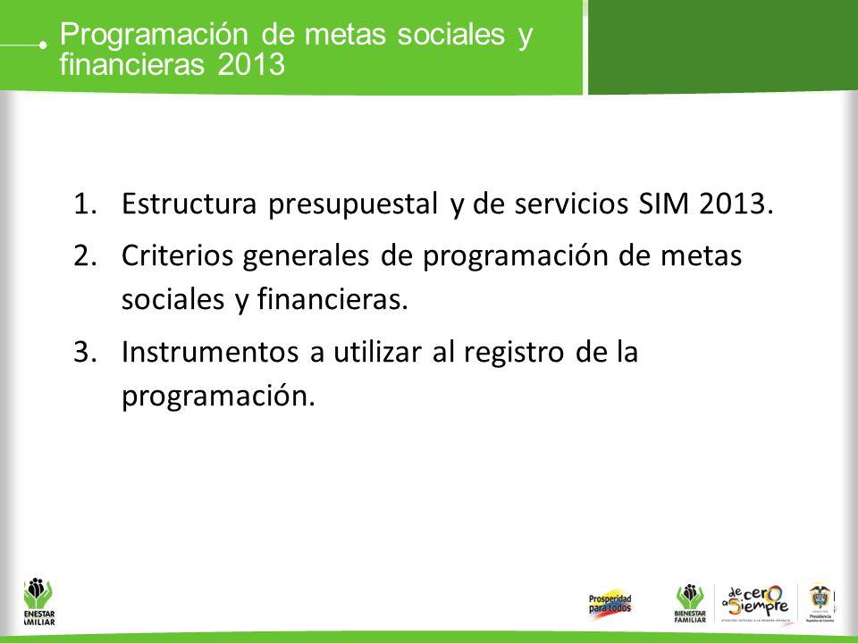 Programación de metas sociales y financieras 2013 1.Estructura presupuestal y de servicios SIM 2013. 2.Criterios generales de programación de metas so