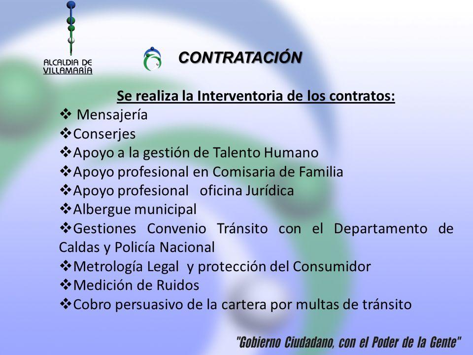 Se realiza la Interventoria de los contratos: Mensajería Conserjes Apoyo a la gestión de Talento Humano Apoyo profesional en Comisaria de Familia Apoy