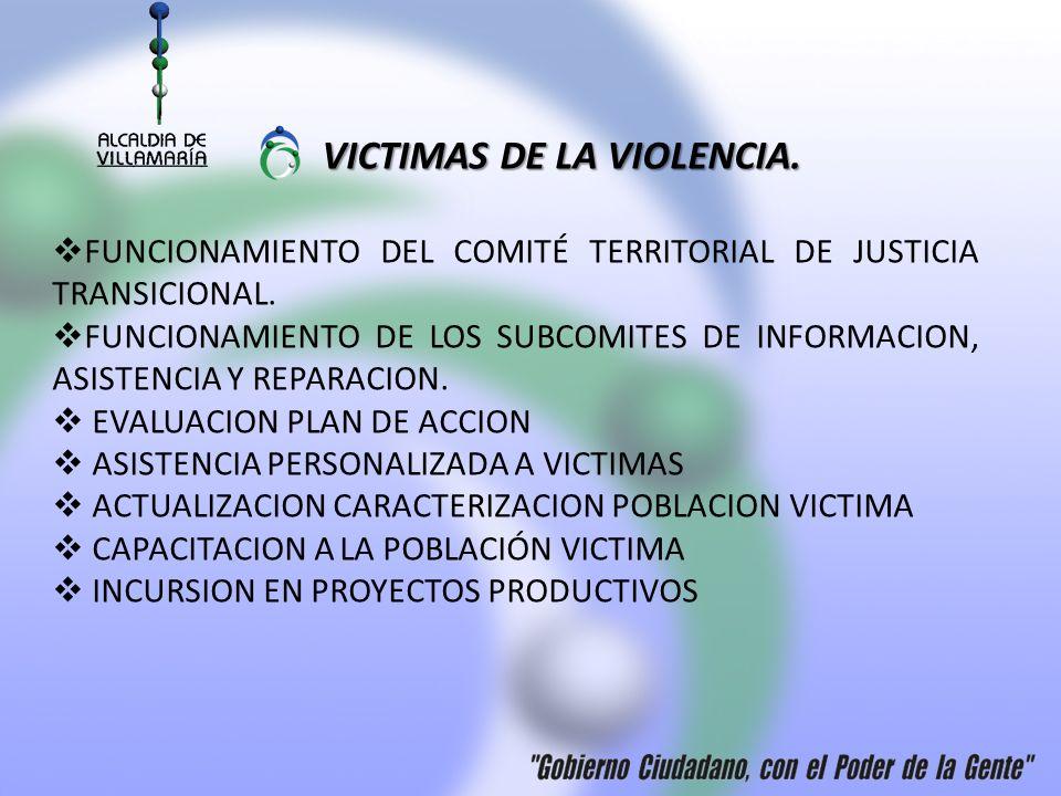 VICTIMAS DE LA VIOLENCIA. FUNCIONAMIENTO DEL COMITÉ TERRITORIAL DE JUSTICIA TRANSICIONAL. FUNCIONAMIENTO DE LOS SUBCOMITES DE INFORMACION, ASISTENCIA