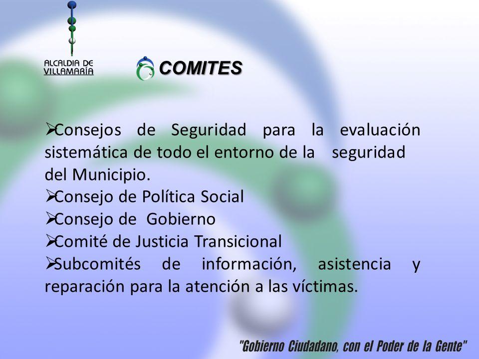 COMITES COMITES Consejos de Seguridad para la evaluación sistemática de todo el entorno de la seguridad del Municipio. Consejo de Política Social Cons