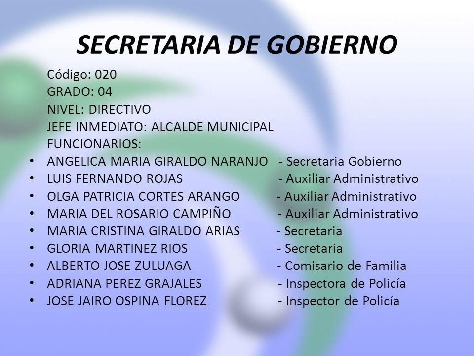 SECRETARIA DE GOBIERNO Código: 020 GRADO: 04 NIVEL: DIRECTIVO JEFE INMEDIATO: ALCALDE MUNICIPAL FUNCIONARIOS: ANGELICA MARIA GIRALDO NARANJO - Secretaria Gobierno LUIS FERNANDO ROJAS - Auxiliar Administrativo OLGA PATRICIA CORTES ARANGO - Auxiliar Administrativo MARIA DEL ROSARIO CAMPIÑO - Auxiliar Administrativo MARIA CRISTINA GIRALDO ARIAS - Secretaria GLORIA MARTINEZ RIOS - Secretaria ALBERTO JOSE ZULUAGA - Comisario de Familia ADRIANA PEREZ GRAJALES - Inspectora de Policía JOSE JAIRO OSPINA FLOREZ - Inspector de Policía