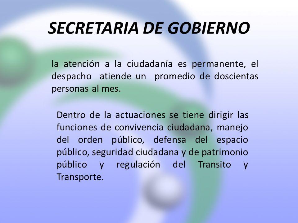 SECRETARIA DE GOBIERNO la atención a la ciudadanía es permanente, el despacho atiende un promedio de doscientas personas al mes. Dentro de la actuacio