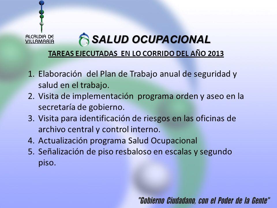 SALUD OCUPACIONAL SALUD OCUPACIONAL TAREAS EJECUTADAS EN LO CORRIDO DEL AÑO 2013 1.Elaboración del Plan de Trabajo anual de seguridad y salud en el trabajo.