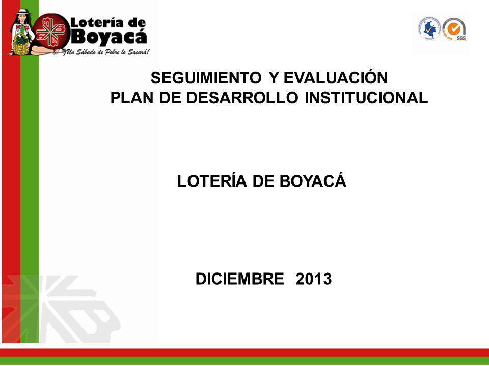 SEGUIMIENTO Y EVALUACIÓN PLAN DE DESARROLLO INSTITUCIONAL LOTERÍA DE BOYACÁ DICIEMBRE 2013