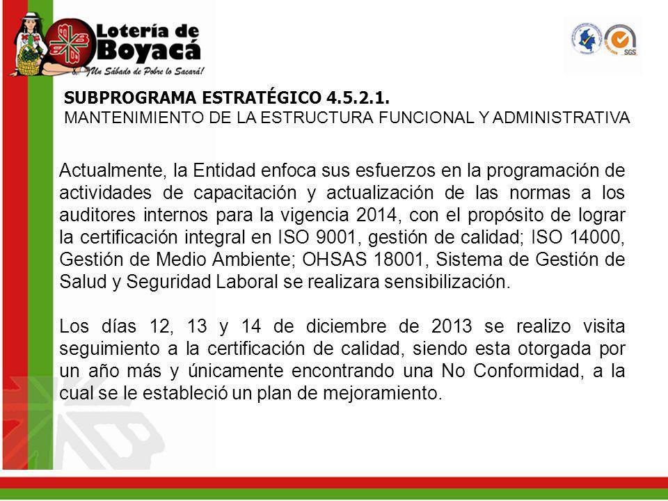 SUBPROGRAMA ESTRATÉGICO 4.5.2.1. MANTENIMIENTO DE LA ESTRUCTURA FUNCIONAL Y ADMINISTRATIVA Actualmente, la Entidad enfoca sus esfuerzos en la programa