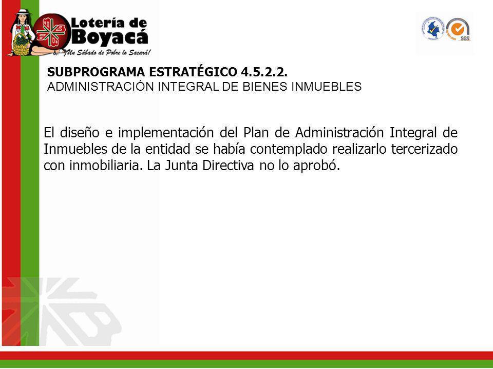 SUBPROGRAMA ESTRATÉGICO 4.5.2.2. ADMINISTRACIÓN INTEGRAL DE BIENES INMUEBLES El diseño e implementación del Plan de Administración Integral de Inmuebl
