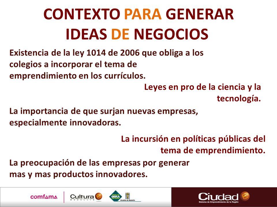 CONTEXTO PARA GENERAR IDEAS DE NEGOCIOS Existencia de la ley 1014 de 2006 que obliga a los colegios a incorporar el tema de emprendimiento en los curr