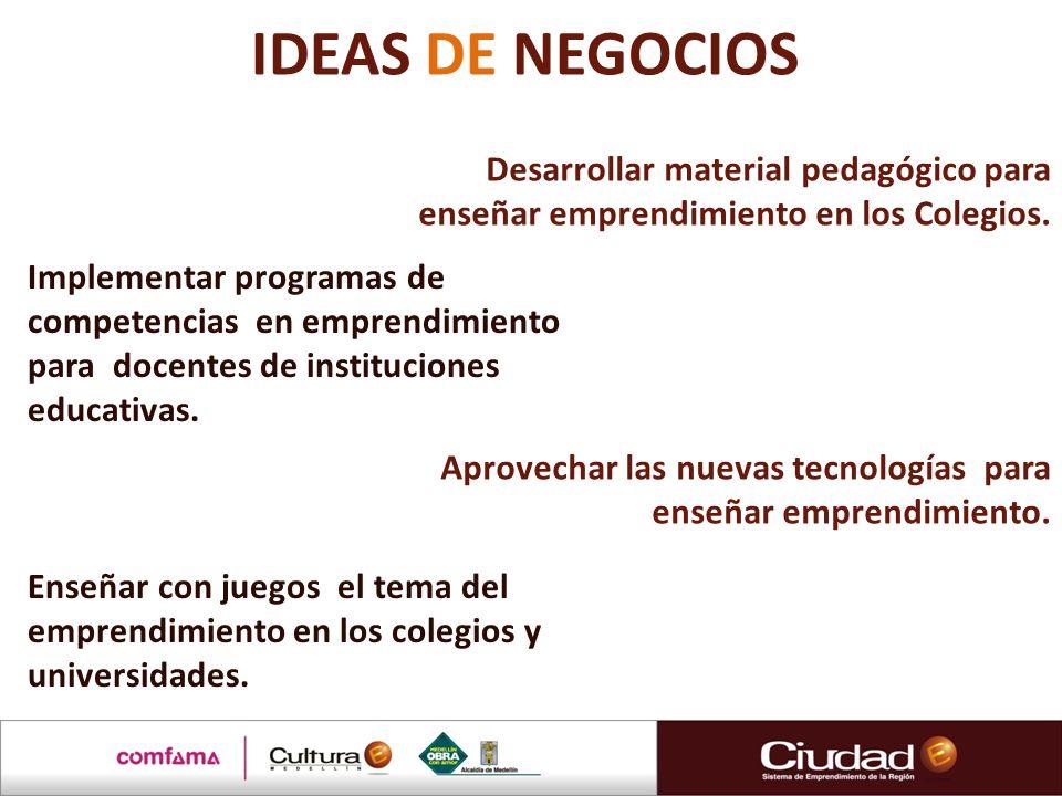 Desarrollar material pedagógico para enseñar emprendimiento en los Colegios. Implementar programas de competencias en emprendimiento para docentes de