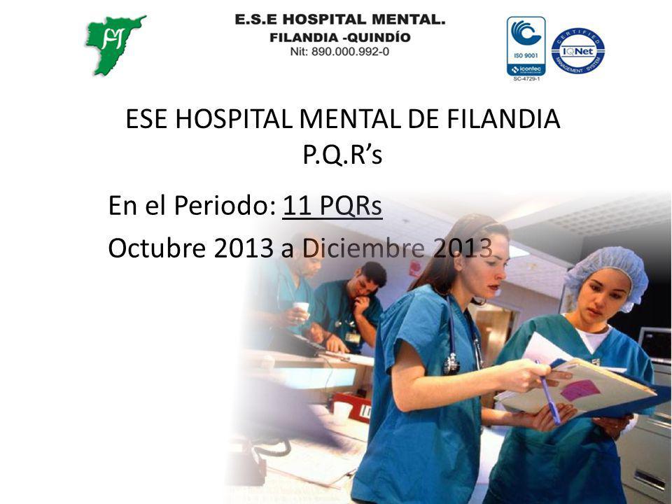 ESE HOSPITAL MENTAL DE FILANDIA P.Q.Rs En el Periodo: 11 PQRs Octubre 2013 a Diciembre 2013