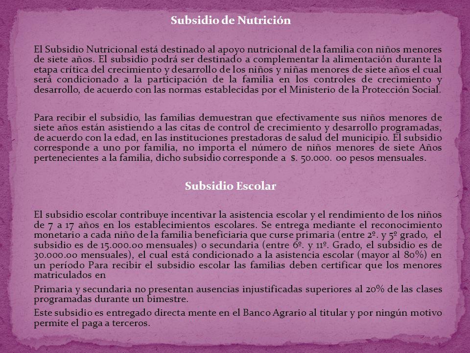 ESTADO DE FAMILIAS BENEFICIARIAS DEL PROGRAMA.