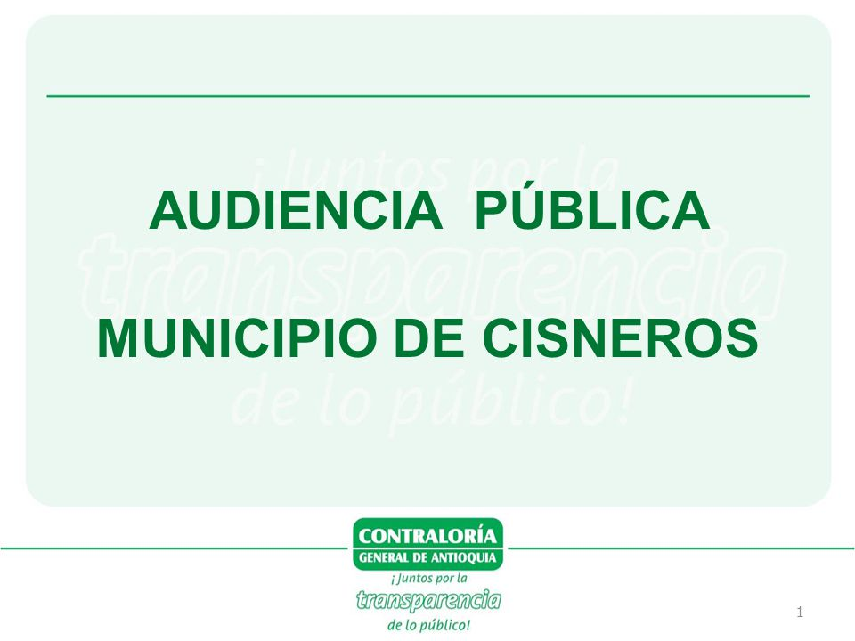 1 AUDIENCIA PÚBLICA MUNICIPIO DE CISNEROS