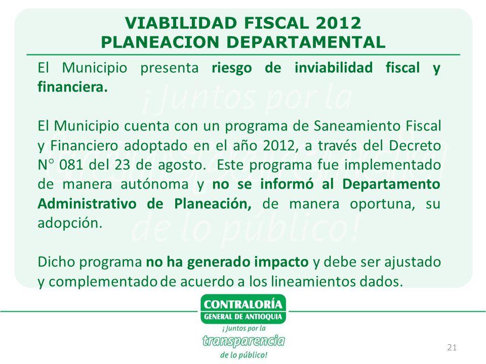 21 VIABILIDAD FISCAL 2012 PLANEACION DEPARTAMENTAL El Municipio presenta riesgo de inviabilidad fiscal y financiera. El Municipio cuenta con un progra