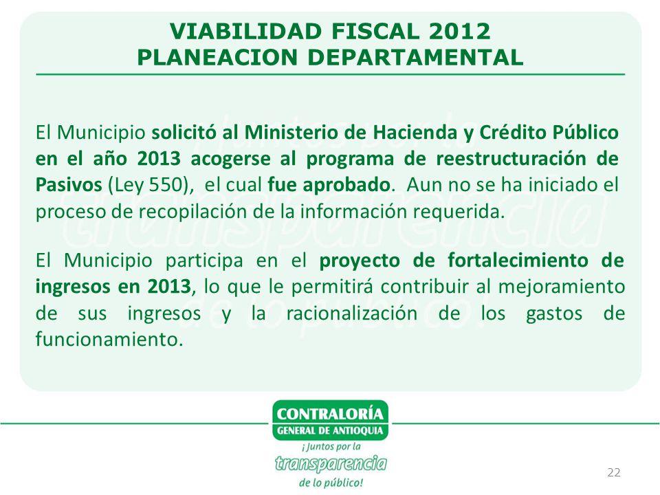 22 VIABILIDAD FISCAL 2012 PLANEACION DEPARTAMENTAL El Municipio solicitó al Ministerio de Hacienda y Crédito Público en el año 2013 acogerse al progra