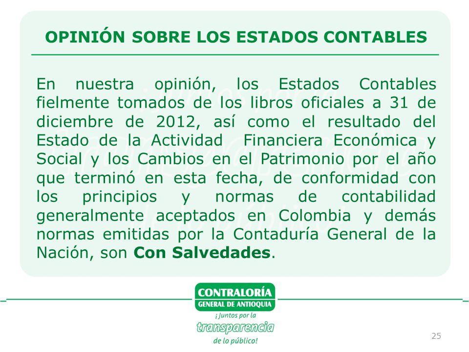25 OPINIÓN SOBRE LOS ESTADOS CONTABLES En nuestra opinión, los Estados Contables fielmente tomados de los libros oficiales a 31 de diciembre de 2012,