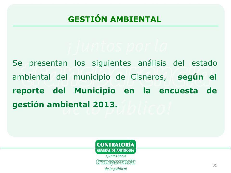 35 Se presentan los siguientes análisis del estado ambiental del municipio de Cisneros, según el reporte del Municipio en la encuesta de gestión ambie
