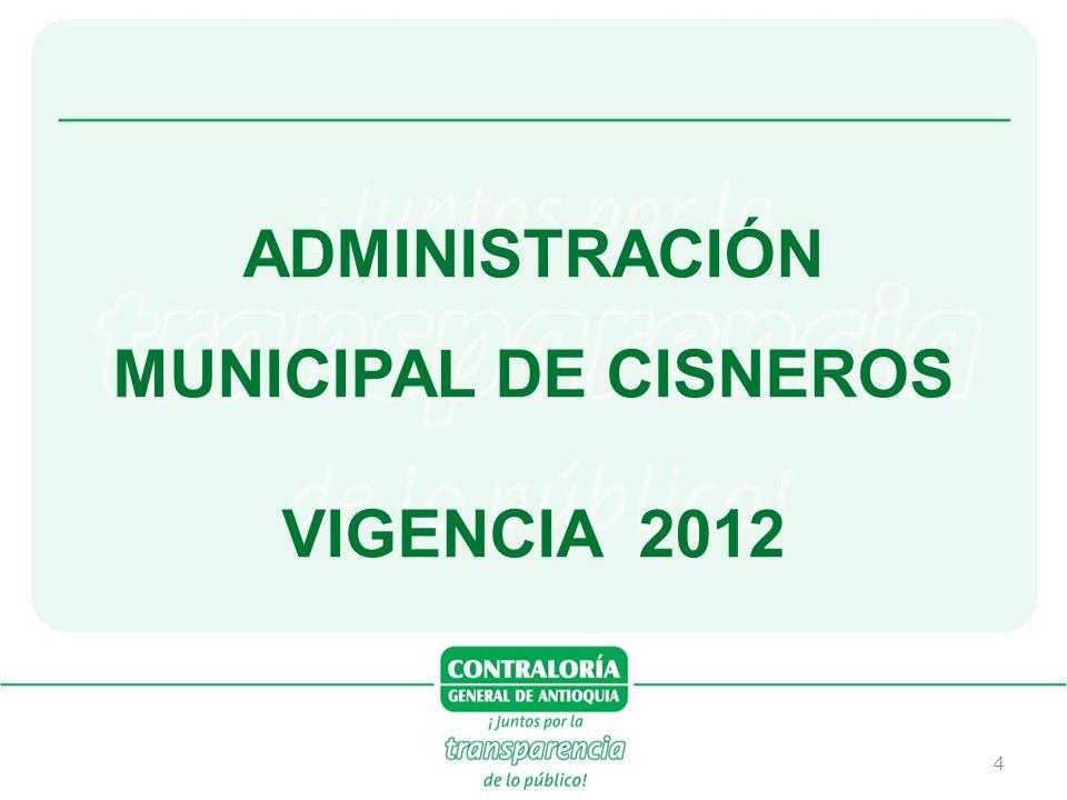 35 Se presentan los siguientes análisis del estado ambiental del municipio de Cisneros, según el reporte del Municipio en la encuesta de gestión ambiental 2013.