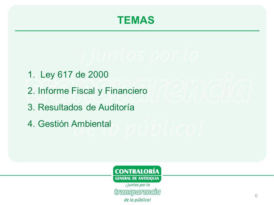 6 1. Ley 617 de 2000 2.Informe Fiscal y Financiero 3.Resultados de Auditoría 4.Gestión Ambiental TEMAS