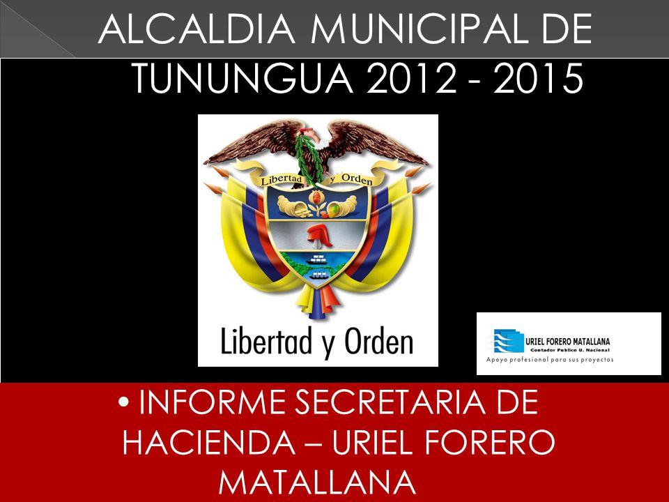 INFORME SECRETARIA DE HACIENDA – URIEL FORERO MATALLANA ALCALDIA MUNICIPAL DE TUNUNGUA 2012 - 2015