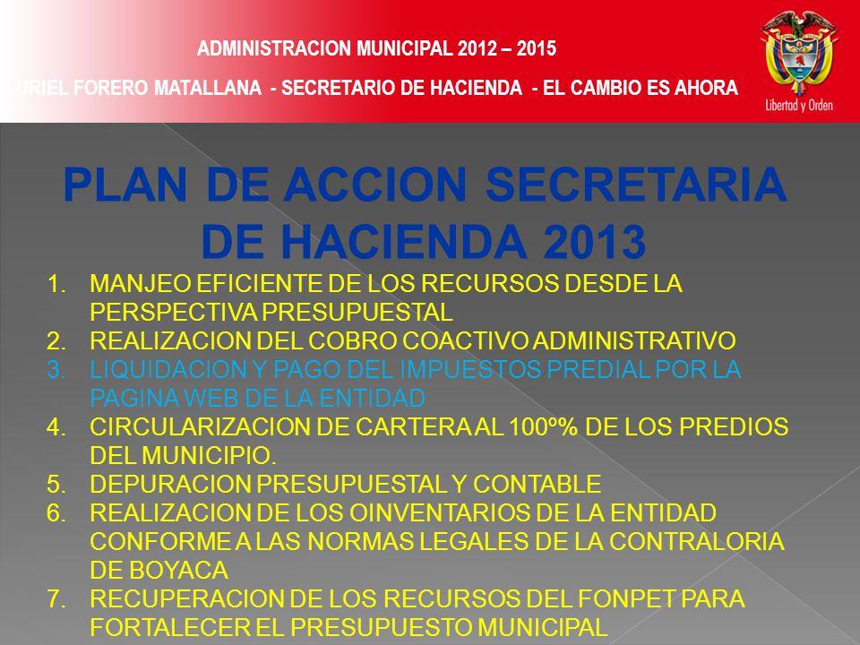 ADMINISTRACION MUNICIPAL 2012 – 2015 URIEL FORERO MATALLANA - SECRETARIO DE HACIENDA - EL CAMBIO ES AHORA PLAN DE ACCION SECRETARIA DE HACIENDA 2013 1.MANJEO EFICIENTE DE LOS RECURSOS DESDE LA PERSPECTIVA PRESUPUESTAL 2.REALIZACION DEL COBRO COACTIVO ADMINISTRATIVO 3.LIQUIDACION Y PAGO DEL IMPUESTOS PREDIAL POR LA PAGINA WEB DE LA ENTIDAD 4.CIRCULARIZACION DE CARTERA AL 100º% DE LOS PREDIOS DEL MUNICIPIO.