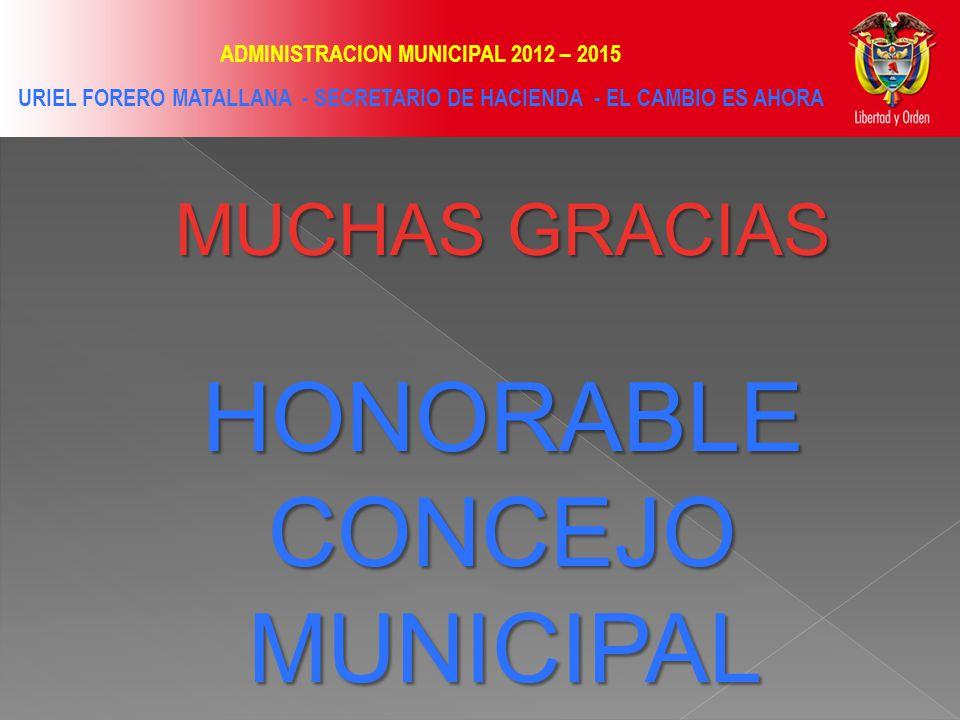ADMINISTRACION MUNICIPAL 2012 – 2015 URIEL FORERO MATALLANA - SECRETARIO DE HACIENDA - EL CAMBIO ES AHORA MUCHAS GRACIAS HONORABLE CONCEJO MUNICIPAL